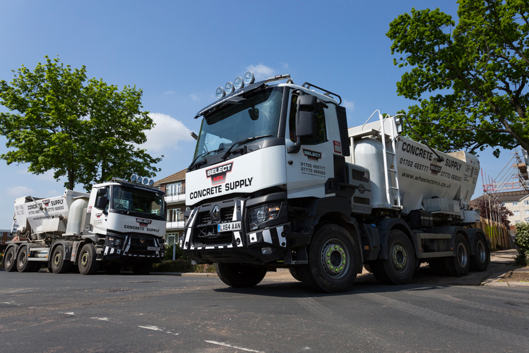 An image of a Select Mix lorry leaving a building site